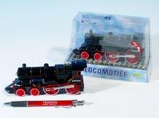 Lokomotiva/Vlak kov 15cm na zpětné natažení na baterie 3xLR41 se zvukem se světlem