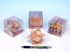 Hlavolam dřevo 7cm asst 4 druhy v plastové krabičce