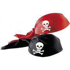 Pirátský šátek plstěný potažený látkou, červená/černá