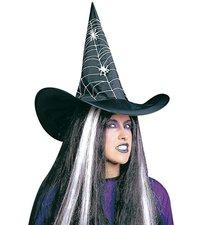 Černý klobouk čarodějnice pro dospělé s bílým pavoučím potiskem