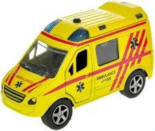 Auto kovové ambulance 11cm zpětný nátah CZ na baterie mluví česky Světlo Zvuk