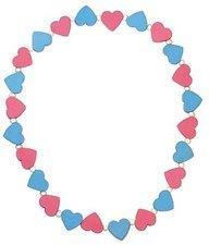Detoa Náhrdelník s růžovými a modrými srdíčky