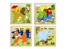 """Woody - Puzzle ze 4 dílů """"Mašinka"""", 4 motivy"""