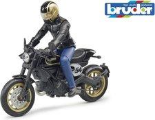 BRUDER 63050 motocykl Scrambler Ducati Cafe Racer + figurka