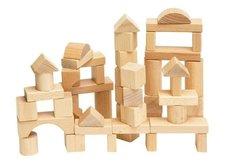 Woody Stavebnice kostky přírodní v kartonu