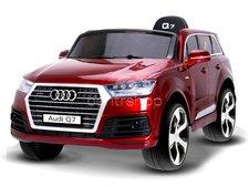 Dimix Elektrické auto Audi Q7, LAK, 2 motory, ovládací panel, R/C 2,4GHz, EVA kola, kůže, červené