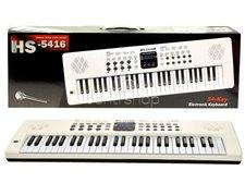 Velké elektronické klávesy s mikrofonem - bílé