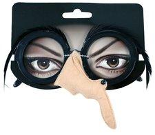 Brýle čarodějnické/halloweenské s peřím a nosem