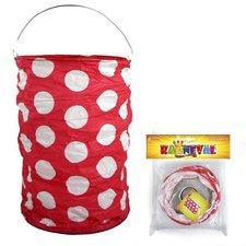 RAPPA Lampion červený s tečkami, krčený, 15 cm, čajová svíčka