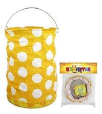 RAPPA Lampion žlutý s tečkami, krčený, 15 cm, čajová svíčka