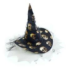 RAPPA Klobouk čarodějnický s lebkami pro dospělé