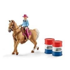 Schleich Osedlaný kůň s kovbojkou