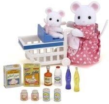 Sylvanian Families Mamka myška s nákupním vozíkem a myšičkou