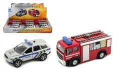 Mikro Trading Záchranářské auto policie/hasiči kov 11cm na zpětný chod na baterie se světlem a