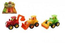 Teddies Traktor/Stavební stroj plast 13cm asst 3 druhy na setrvačník 12ks v boxu