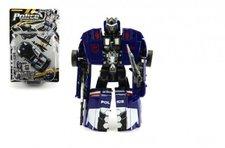 Teddies Transformer auto/robot policie s doplňky 16cm asst 2 barvy na kartě