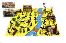 Teddies Sada indiáni a kovbojové s mapou a doplňky plast v sáčku 28x33cm