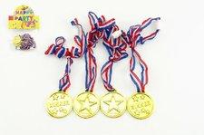 Teddies Medaile průměr 4cm 4ks plast v sáčku