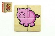 Teddies Puzzle 4ks pro nejmenší dřevo Moje první zvířátka MPZ v dřevěné krabičce 11x11x4