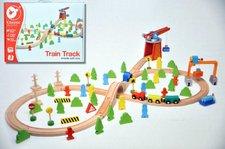 Teddies Vlak dřevo s dráhou + doplňky 75 ks v krabici