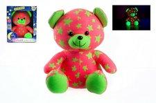 Teddies Medvídek svítící ve tmě 21cm růžový/zelený plyš v krabici