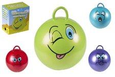 Teddies Skákací míč smajlík s úchytem 45cm nosnost 60kg asst 6 druhů v krabici