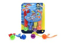 Teddies Zábavné míčky pro potápění 4ks plast se světlem na baterie na kartě 22x28x4cm