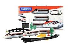 Teddies Vlak + 3 vagóny s kolejemi plast na baterie se světlem v krabici 48x26x5cm