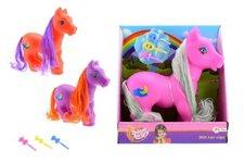 Teddies Kůň pony česací s hřívou a s hřebínkem guma/plast 22cm asst 3 barvy v krabici