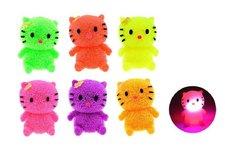 Teddies Míček gumový chlupatý kočka antistresový svítící plast 7cm asst 6 barev 12ks v b