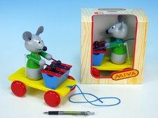 Miva Myš s xylofonem dřevo tahací 20cm v krabičce 12m+