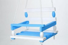 Houpačka dřevo bílo modrá 38x30cm nosnost 200kg v sáčku
