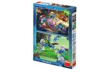 Dino Puzzle Šmoulové 3: Výprava 2x66 dílků 32,3x22cm