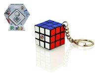 Teddies Rubikova kostka hlavolam přívěšek plast 3x3x3cm na kartě
