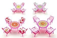 Teddies Nábytek pro panenky stůl + 4 židle plast 17cm v sáčku