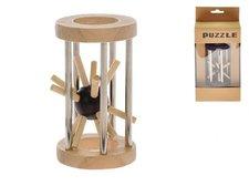 Mikro Trading Hlavolam ježek v kleci 8cm dřevo/kov asst 2 barvy v krabičce