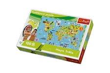 Trefl Vzdělávací puzzle mapa světa 100 dílků 60x40cm v krabici  33x23x6cm