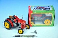 Kovap Traktor Zetor 25A červený na klíček kov 15cm 1:25 v krabičce Kovap
