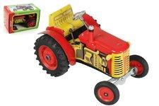 Kovap Traktor Zetor červený na klíček kov 14cm 1:25 v krabičce Kovap