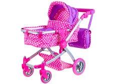 Dětský kočárek pro panenky 4 v 1 růžový puntík