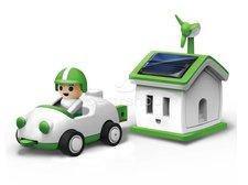 Solární auto s garáží Green Life solar kit robot