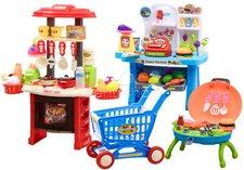 Kuchyňka s prodejnou, grilem a nákupním košíkem modrá