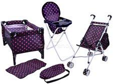 Joko Sestava pro panenky kočárek, postýlka, jídelní židlička fialová