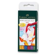 Faber-Castell Popisovač Pitt Artist Pen Brush 6 ks, základní barvy