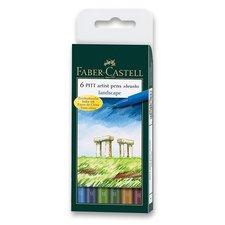 Faber-Castell Popisovač Pitt Artist Pen Brush 6 ks, přírodní odstíny