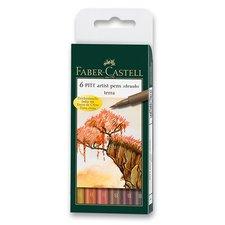 Faber-Castell Popisovač Pitt Artist Pen Brush 6 ks, odstíny země