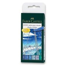 Faber-Castell Popisovač Pitt Artist Pen Brush 6 ks, odstíny modré
