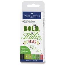 Faber-Castell Popisovač Pitt Artist Pen Hand Lettering 6 kusů, zelená sada