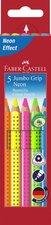 Pastelky Faber-Castell Colour Grip Jumbo Neon - sada, 5 barev