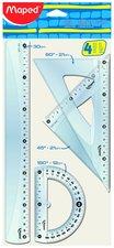 Plastové pravítko MAPED Crystal, 4dílná sada